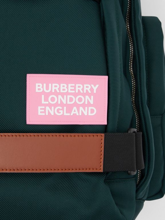 Large Leather Trim Nylon Nevis Backpack in Dark Pine Green | Burberry United Kingdom - cell image 1