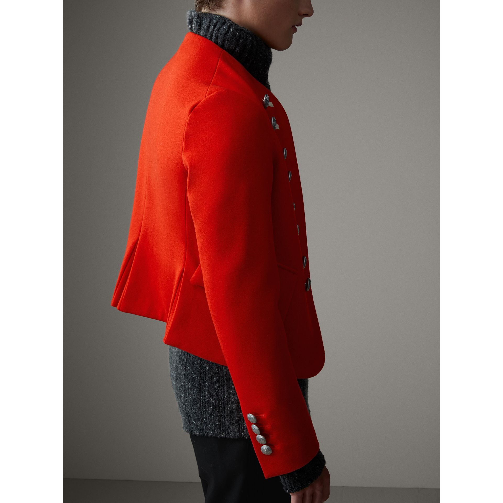 Wool Cropped Ceremonial Jacket in Orange Red - Men | Burberry United Kingdom - gallery image 5