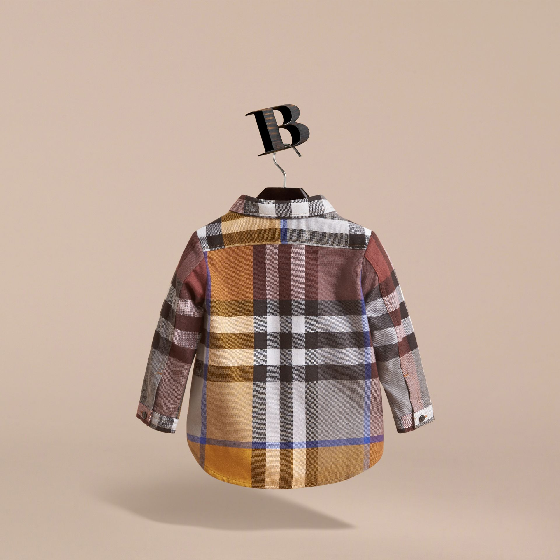 Pocket Detail Check Cotton Shirt in Ochre Yellow | Burberry - gallery image 4