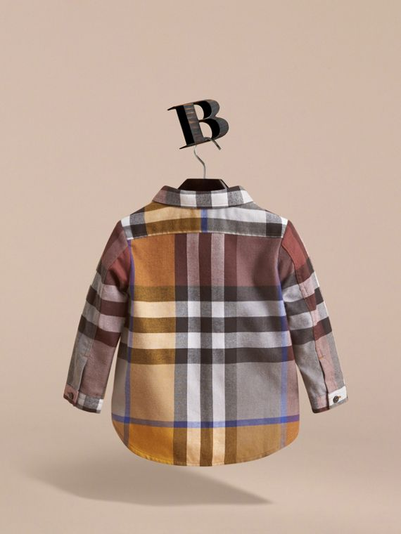 Pocket Detail Check Cotton Shirt in Ochre Yellow | Burberry Australia - cell image 3
