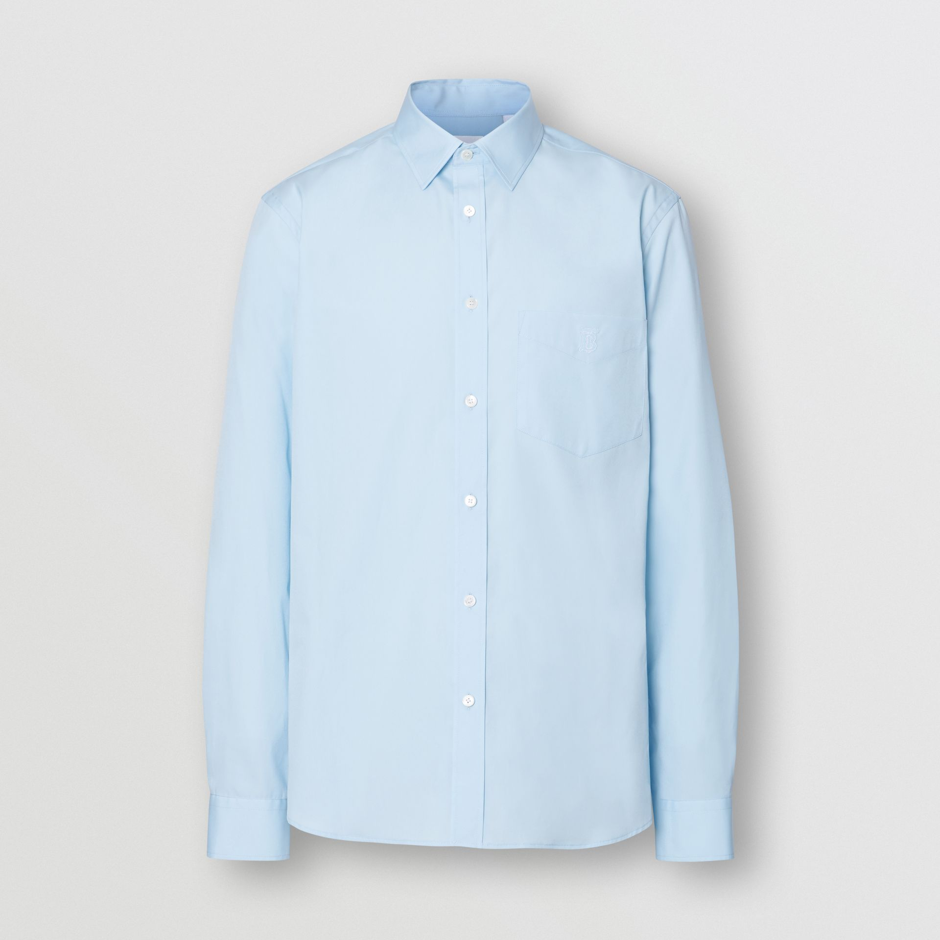 Monogram Motif Stretch Cotton Poplin Shirt in Pale Blue - Men | Burberry - gallery image 3