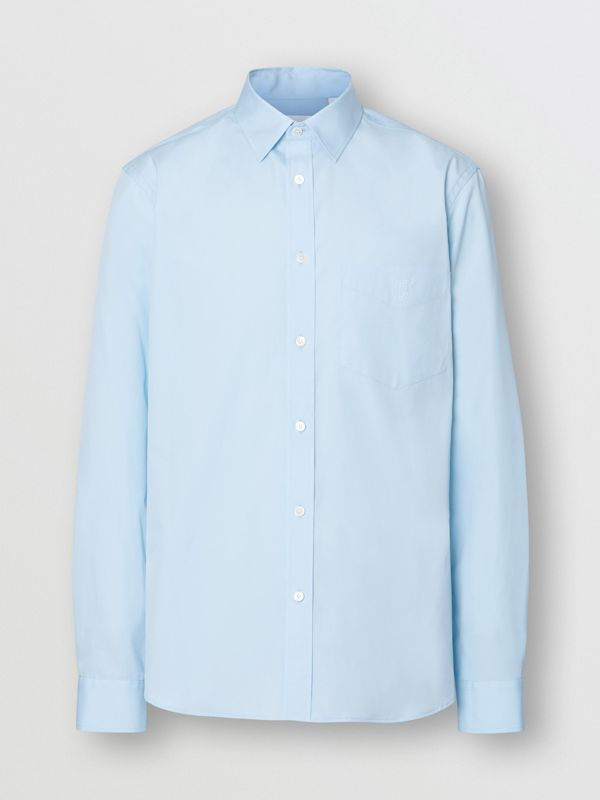 Monogram Motif Stretch Cotton Poplin Shirt in Pale Blue - Men | Burberry - cell image 3