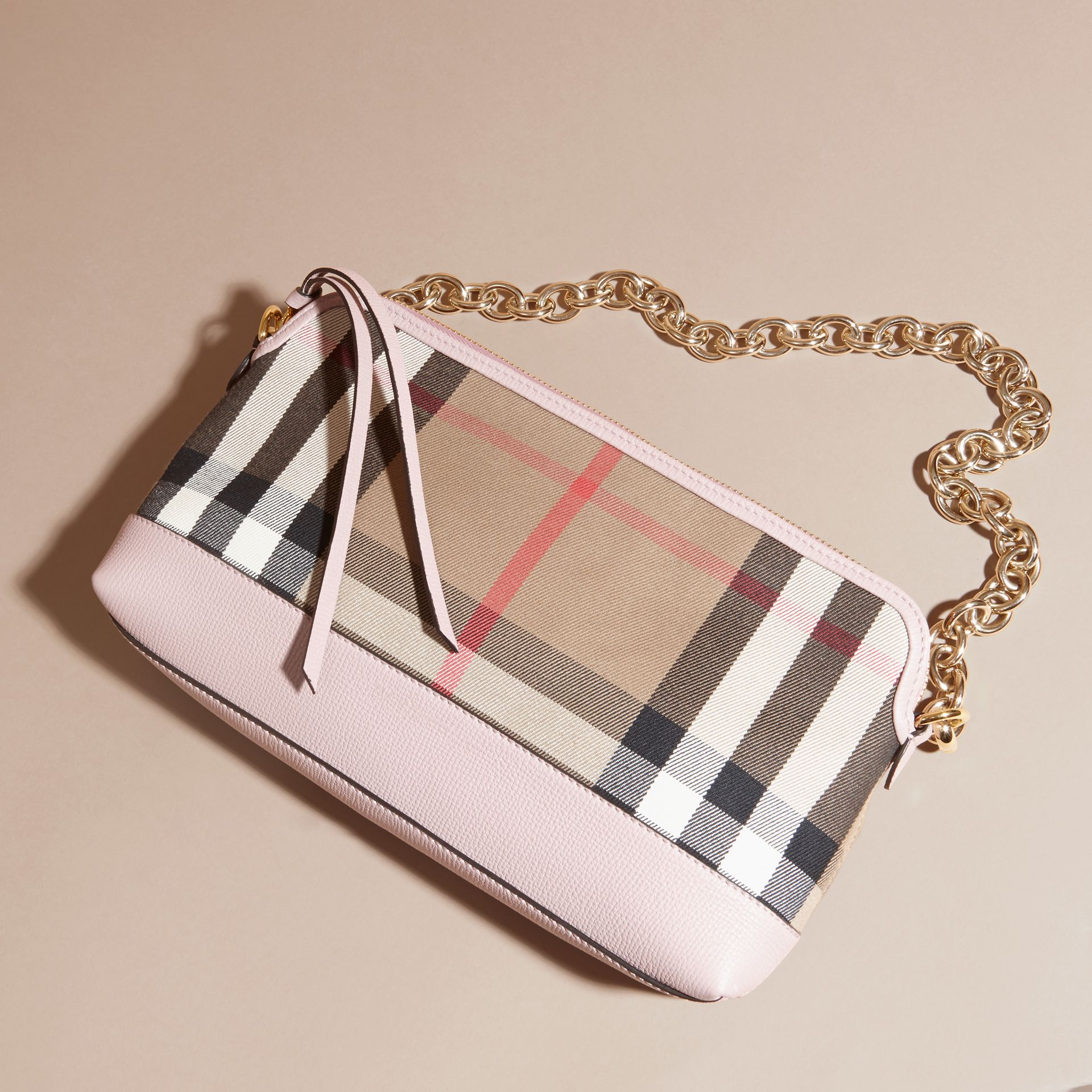 House Check and Leather Clutch Bag in Pale Orchid - Women | Burberry United Kingdom - gallery image 8