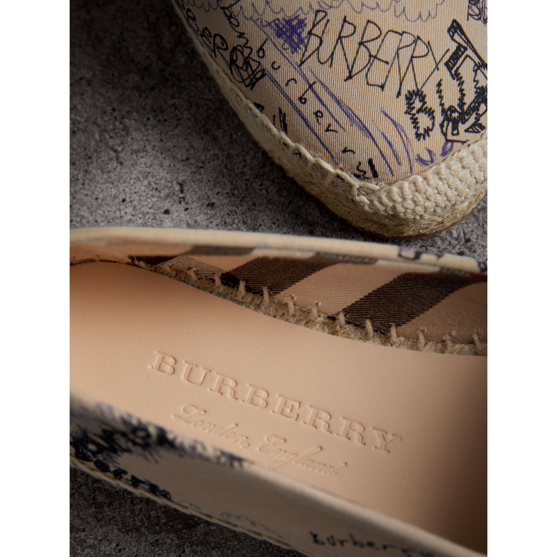 Doodle Print Cotton Gabardine Espadrilles in Honey - Women | Burberry - gallery image 1