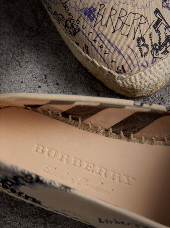 Doodle Print Cotton Gabardine Espadrilles in Honey - Women | Burberry United Kingdom - cell image 1