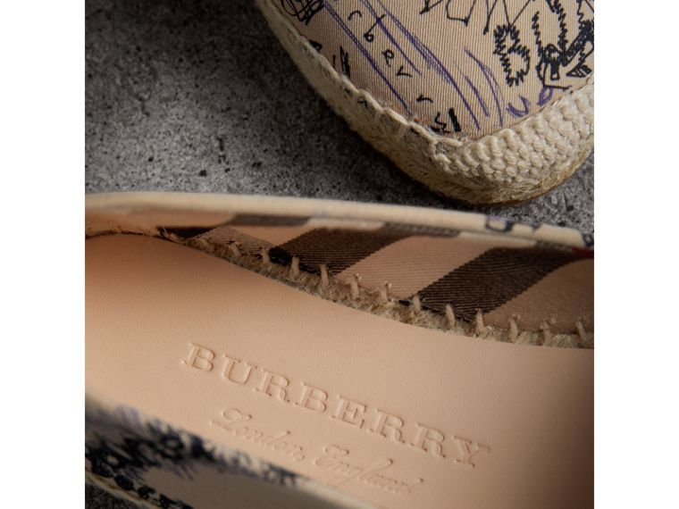 Doodle Print Cotton Gabardine Espadrilles in Honey - Women | Burberry - cell image 1