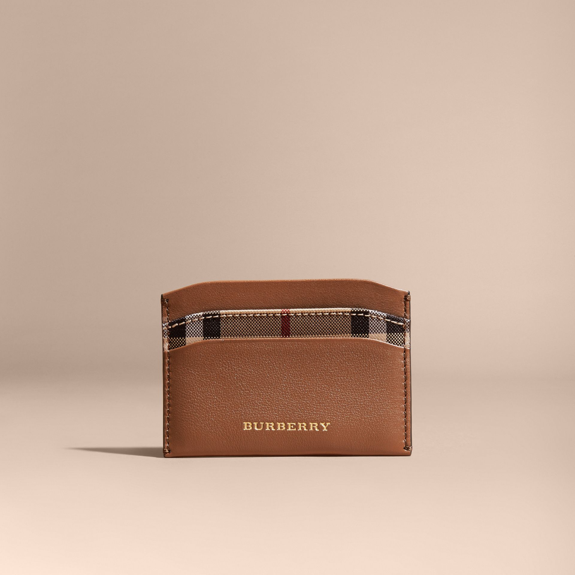 Tan Check and Leather Card Case Tan - gallery image 6