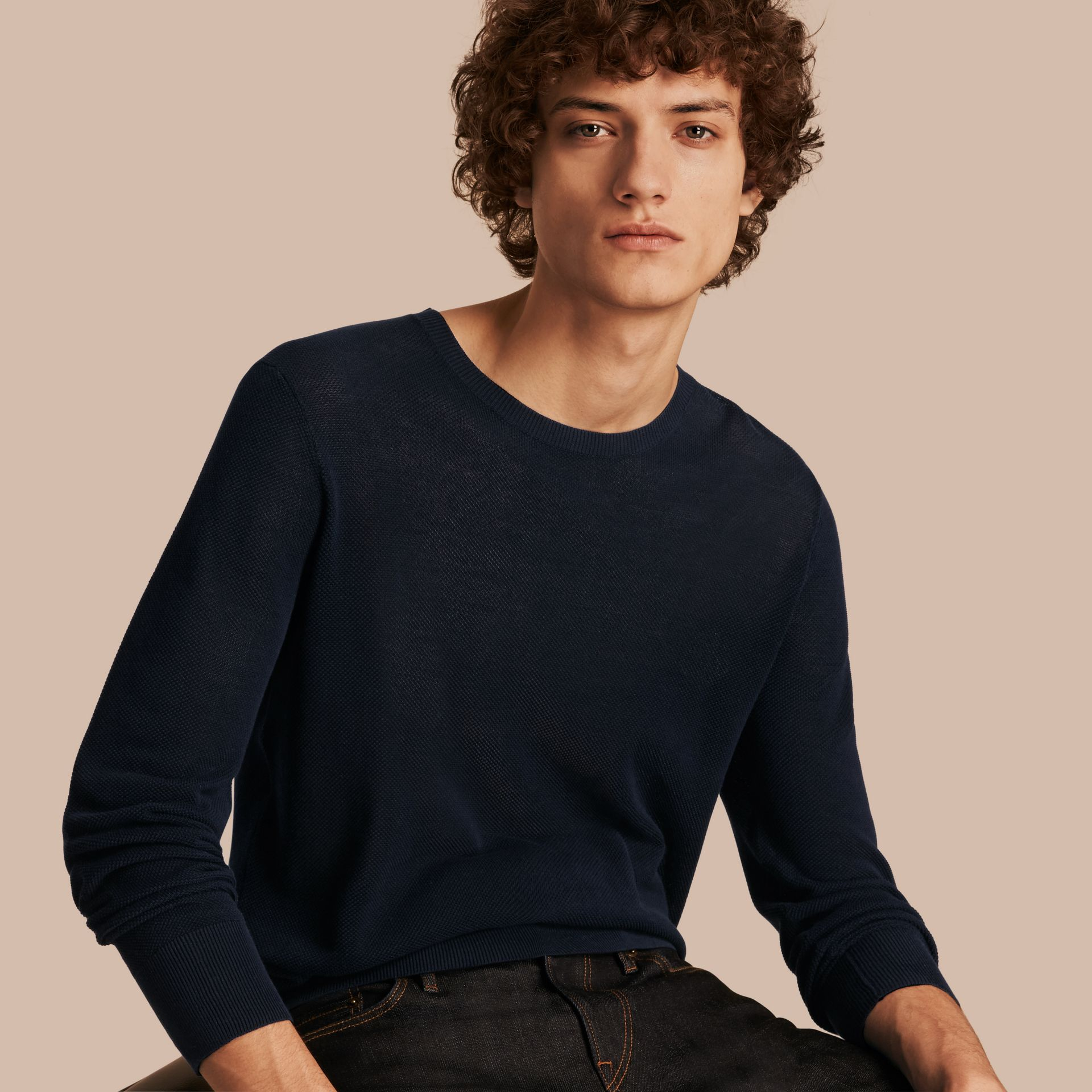 Crew Neck Textured Cotton Sweater in Navy - Men | Burberry - gallery image 0