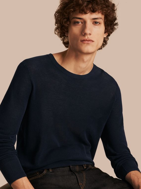 Crew Neck Textured Cotton Sweater