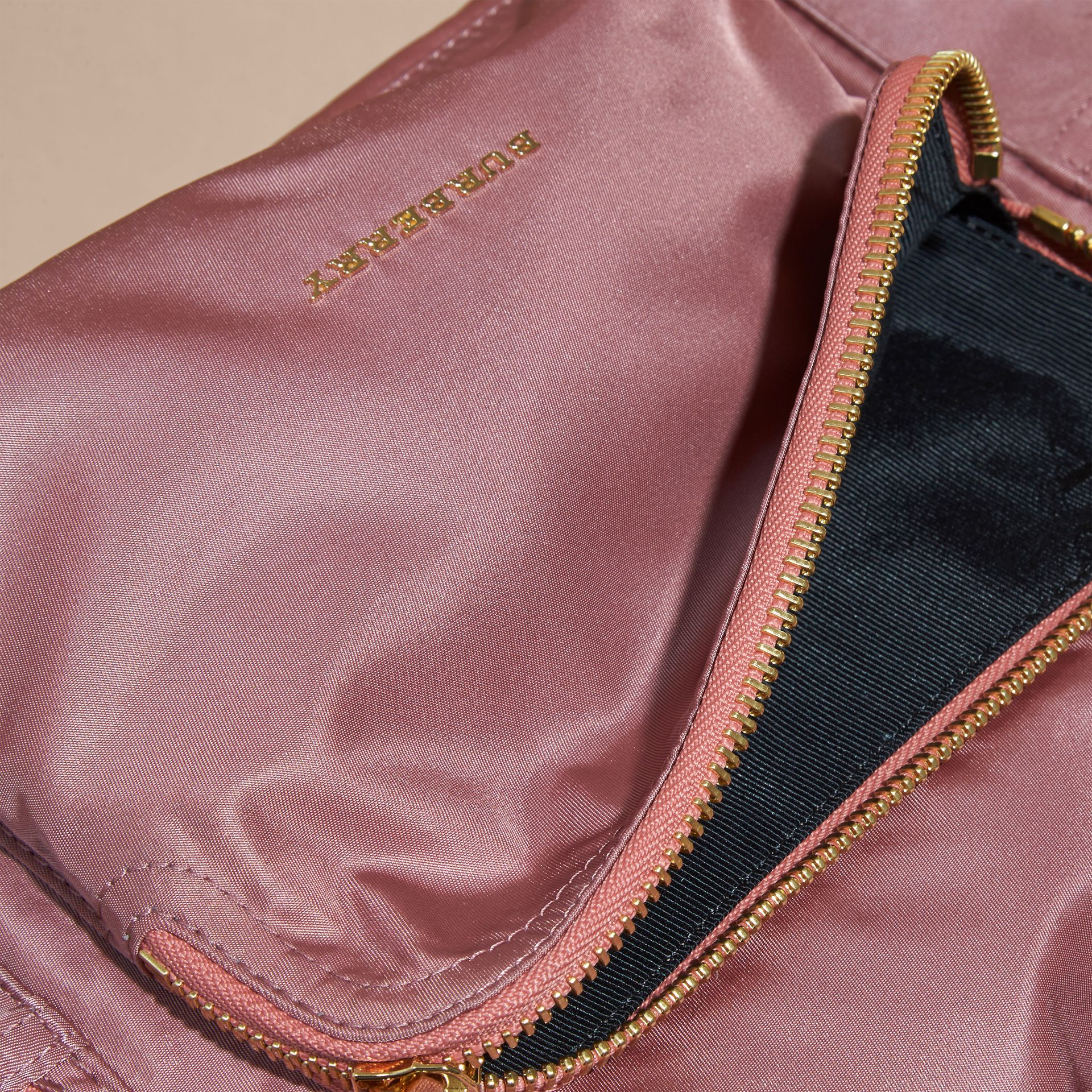 The Medium Rucksack in Technical Nylon and Leather Mauve Pink - gallery image 6