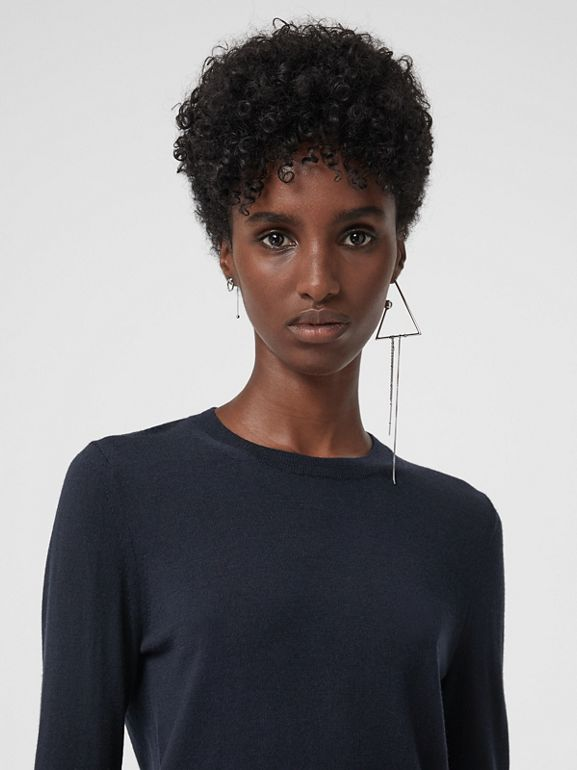 Check Detail Merino Wool Sweater in Navy - Women | Burberry United Kingdom - cell image 1