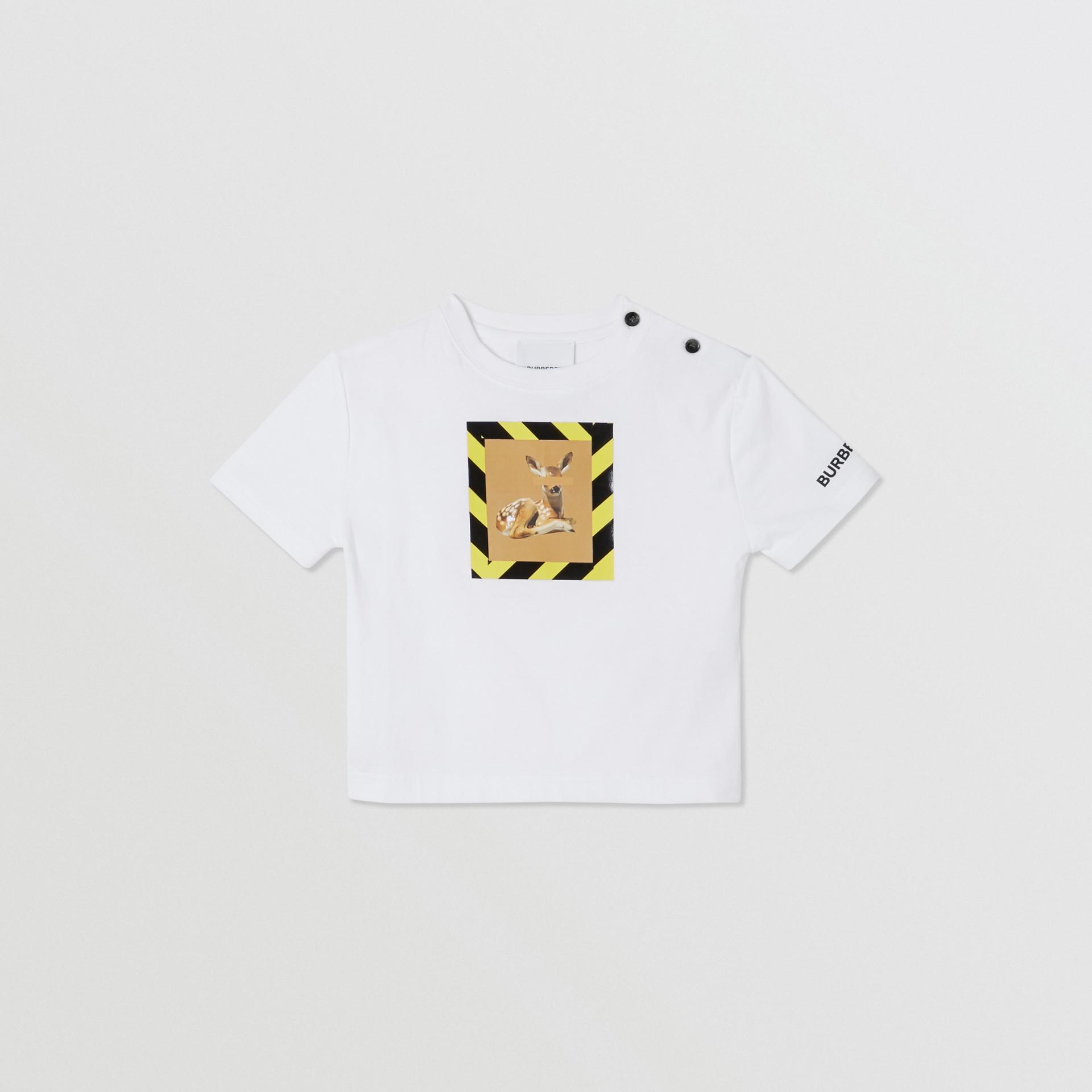 Deer Print Cotton T-shirt in White - Children | Burberry United Kingdom - gallery image 0