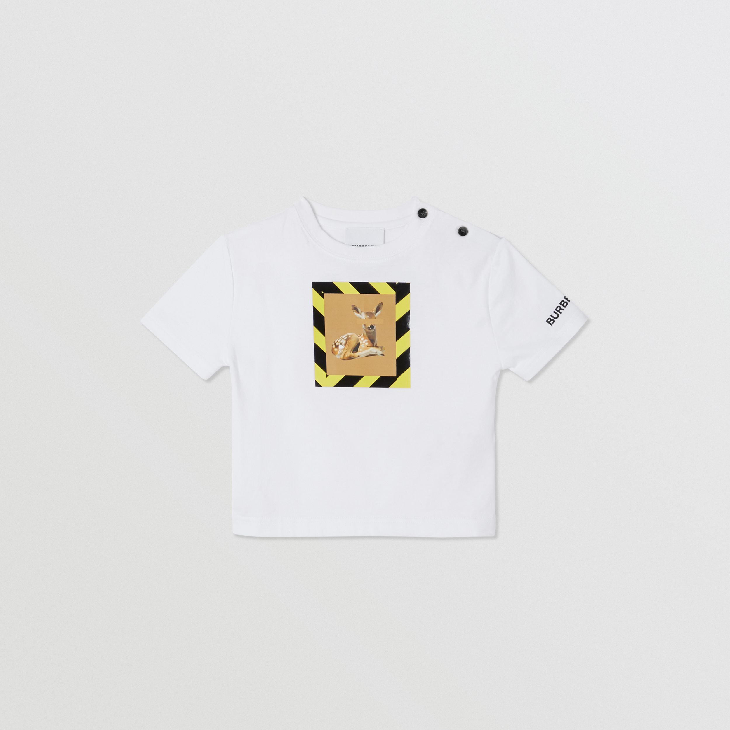 Deer Print Cotton T-shirt in White - Children | Burberry - 1