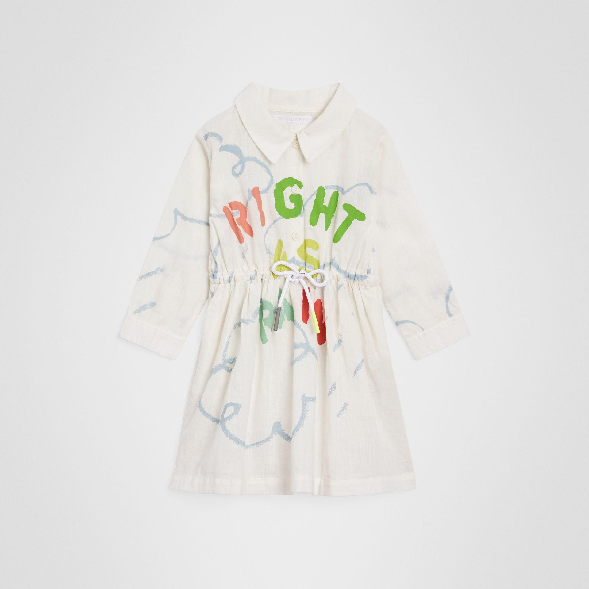 Weather Print Linen Cotton Shirt Dress in White - Children | Burberry - gallery image 0
