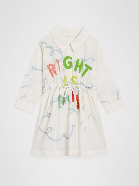 Weather Print Linen Cotton Shirt Dress in White