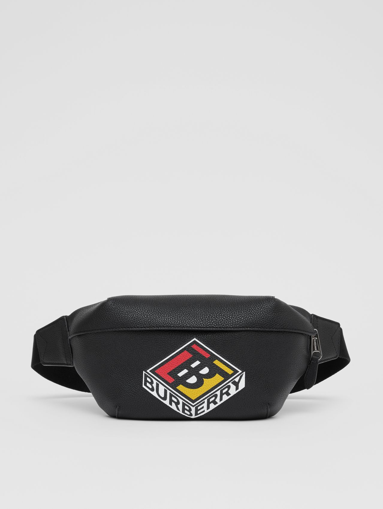 Logo Graphic Grainy Leather Sonny Bum Bag in Black