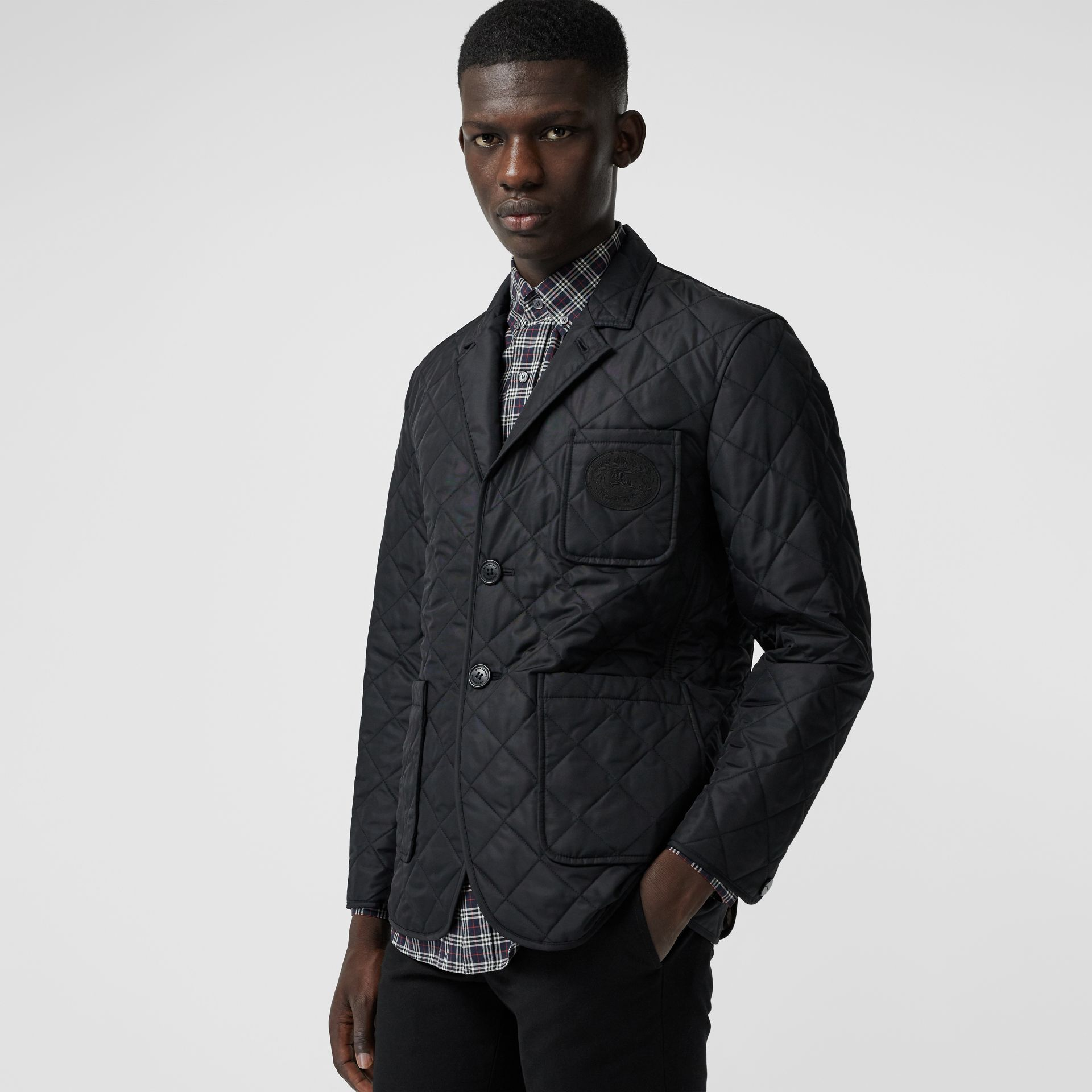 Diamond Quilted Thermoregulated Blazer in Black - Men | Burberry Australia - gallery image 4