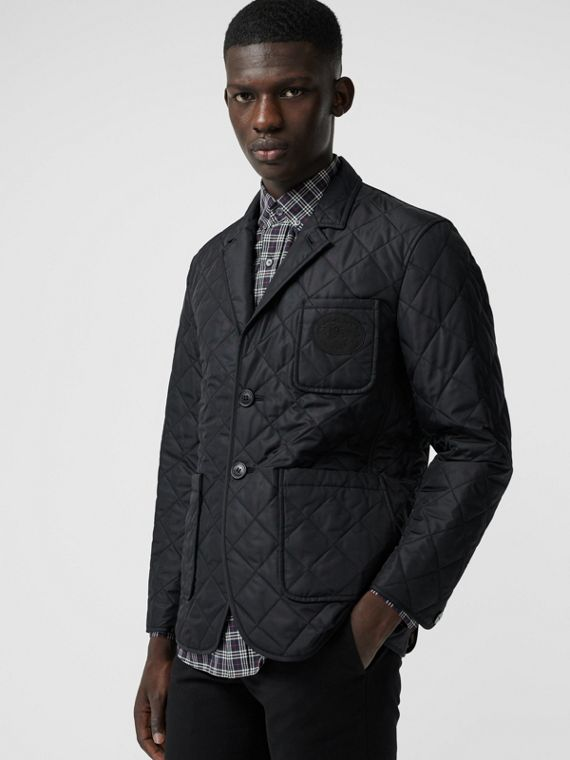 Diamond Quilted Thermoregulated Blazer in Black