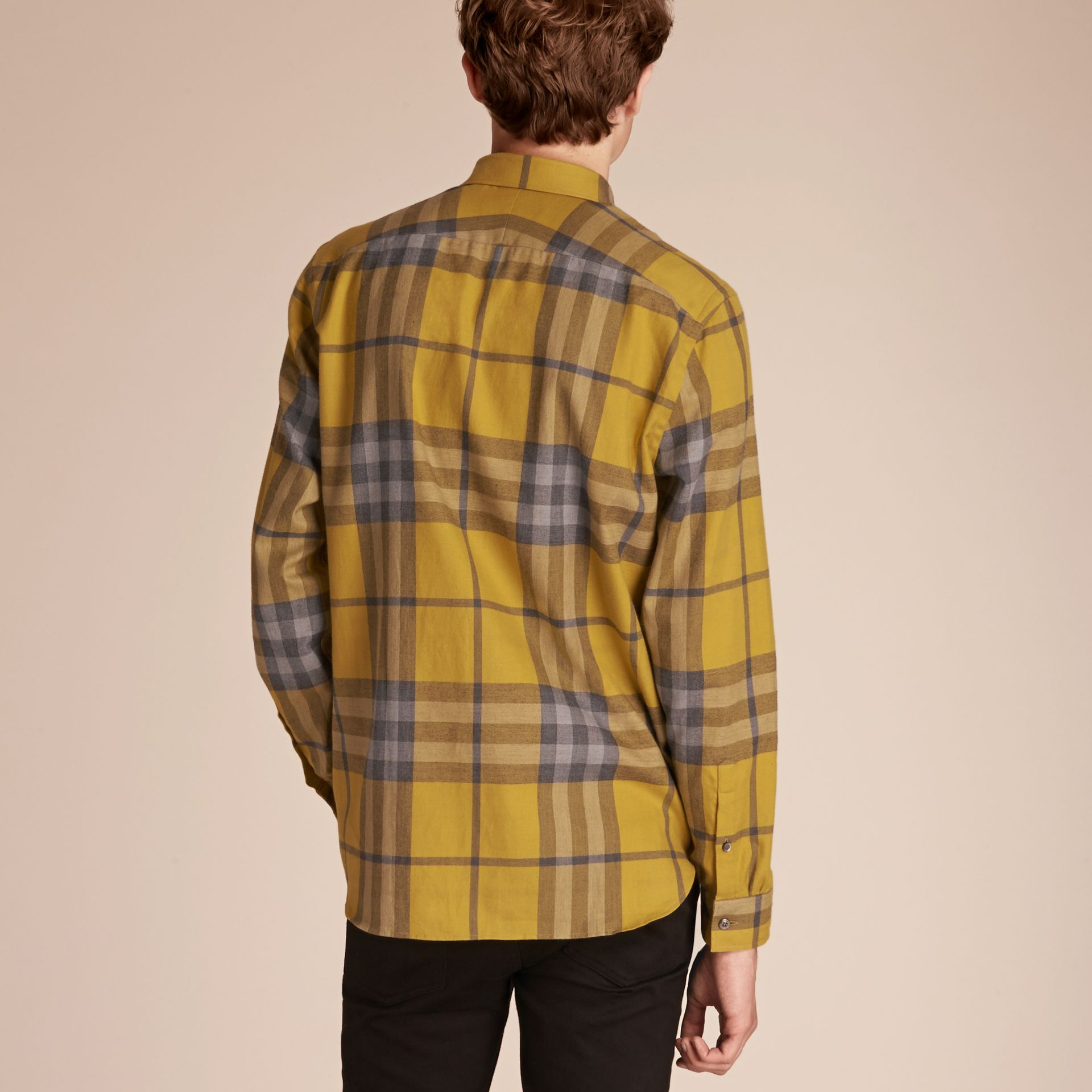 Larch yellow Check Cotton Cashmere Flannel Shirt Larch Yellow - gallery image 3