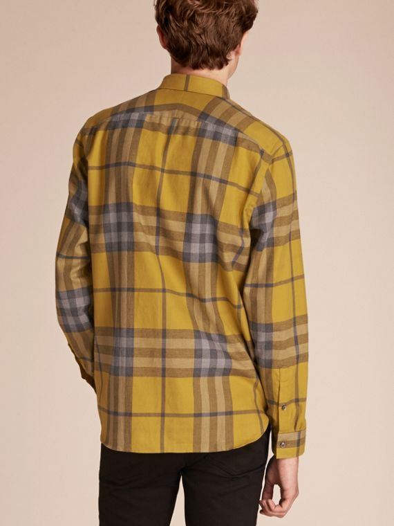 Check Cotton Cashmere Flannel Shirt in Larch Yellow - cell image 2