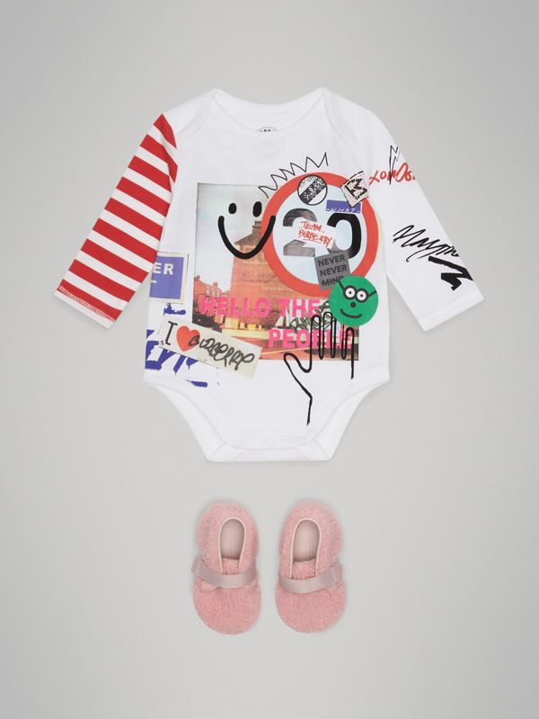 Smile Graphic Print Cotton Bodysuit in White - Children | Burberry - cell image 2