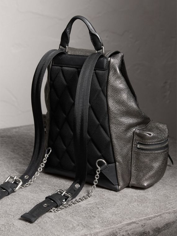 The Medium Rucksack in Metallic Deerskin in Dark Grey - Women | Burberry - cell image 3
