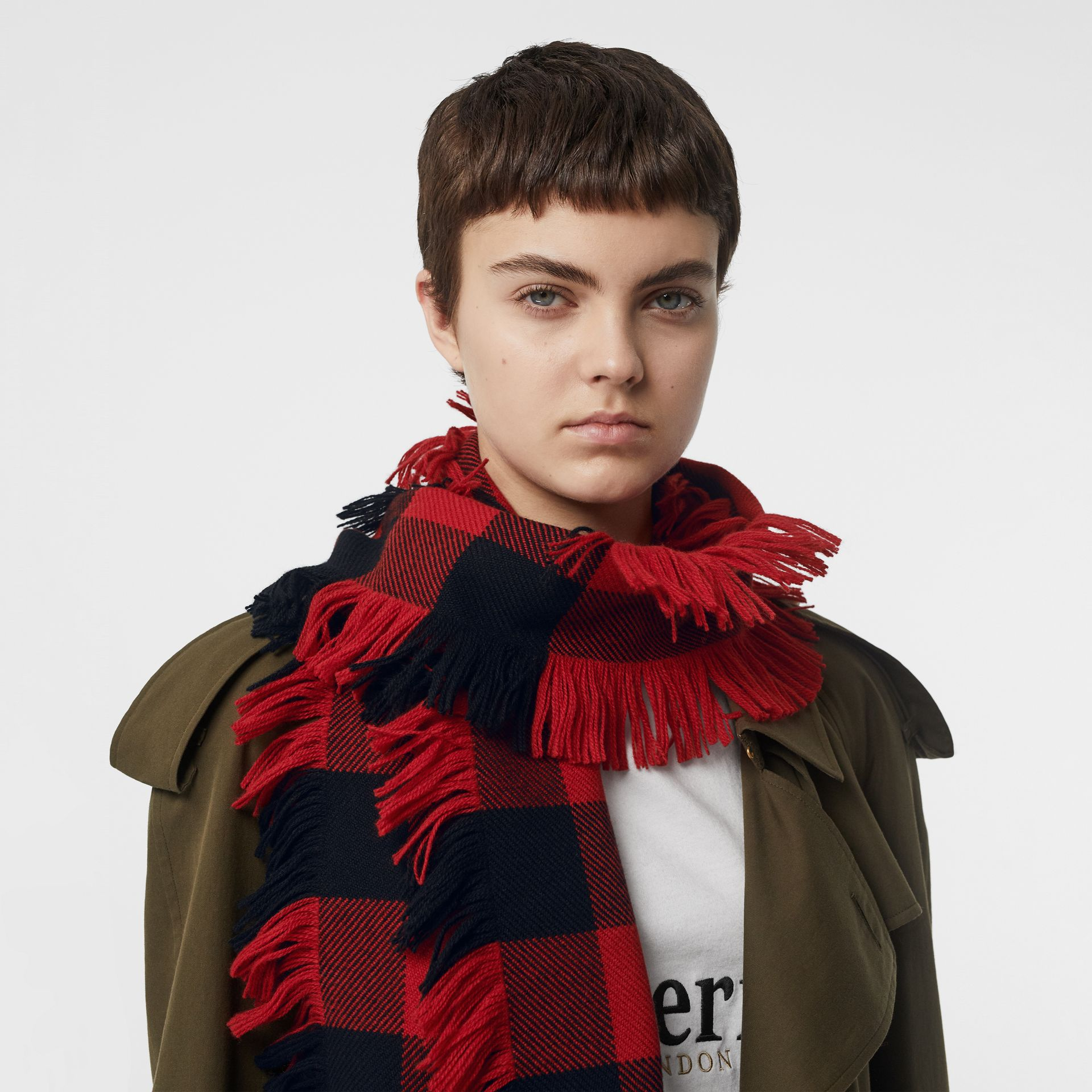 Fringed Check Wool Scarf in Military Red | Burberry - gallery image 2