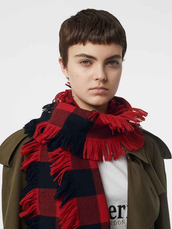 Fringed Check Wool Scarf in Military Red | Burberry - cell image 2