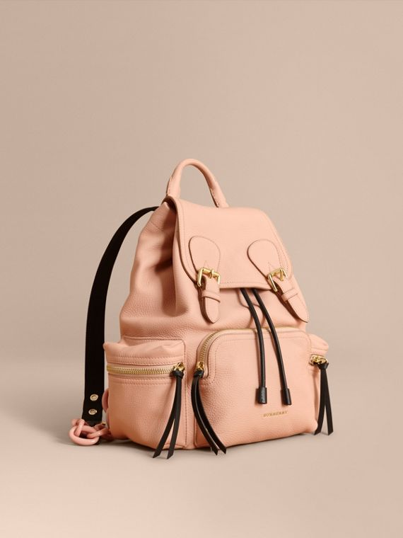 The Medium Rucksack in Deerskin with Resin Chain in Pale Apricot