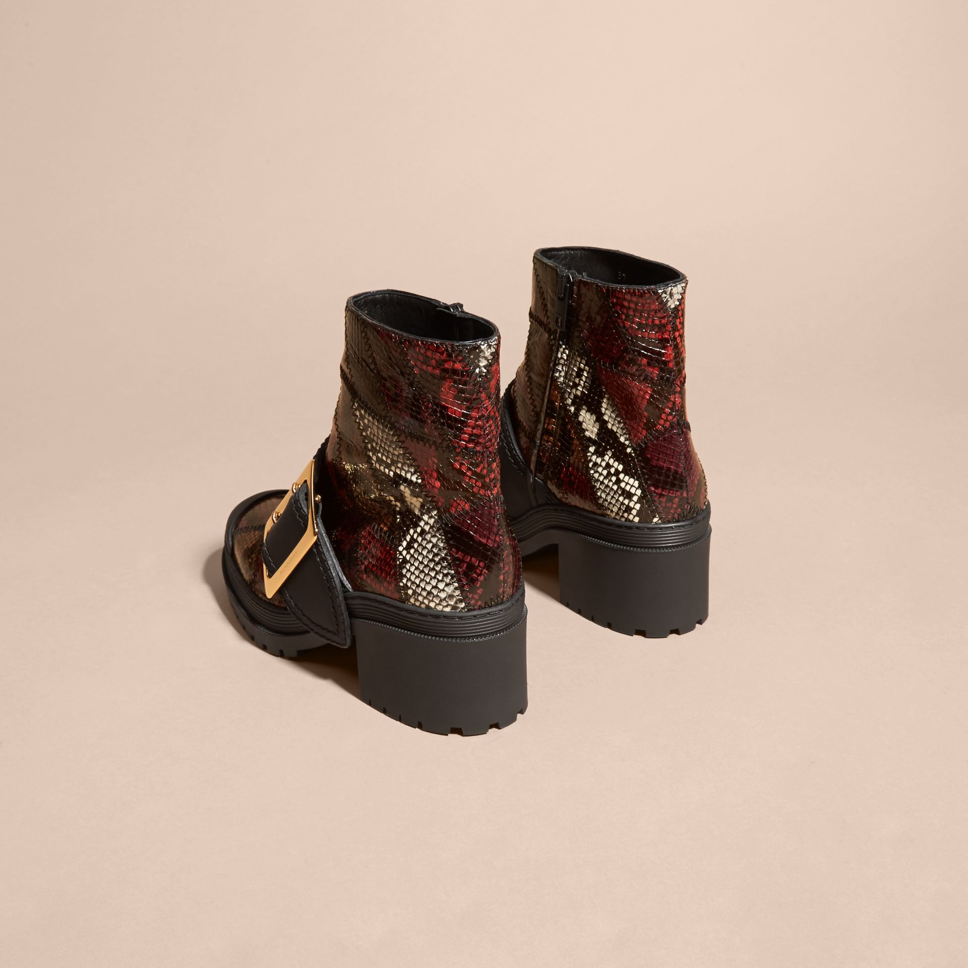 Tan/burgundy red The Buckle Boot in Snakeskin and Rubberised Leather - gallery image 4