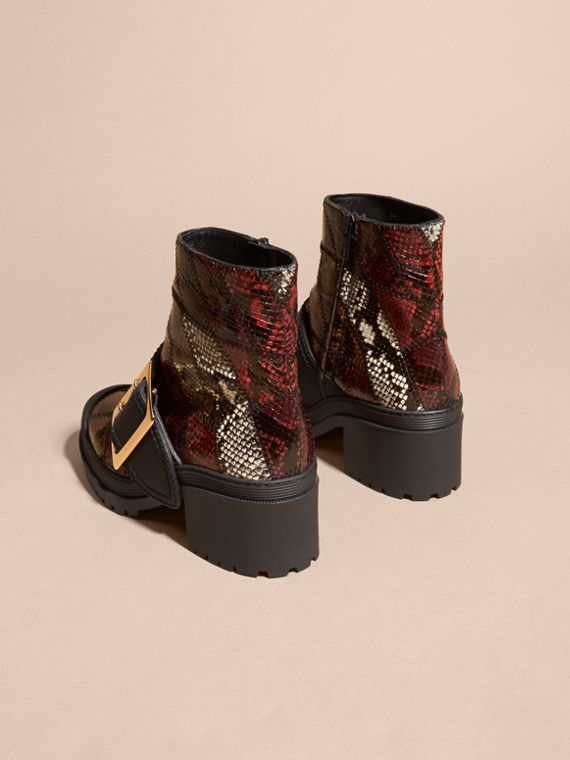 Tan/burgundy red The Buckle Boot in Snakeskin and Rubberised Leather - cell image 3