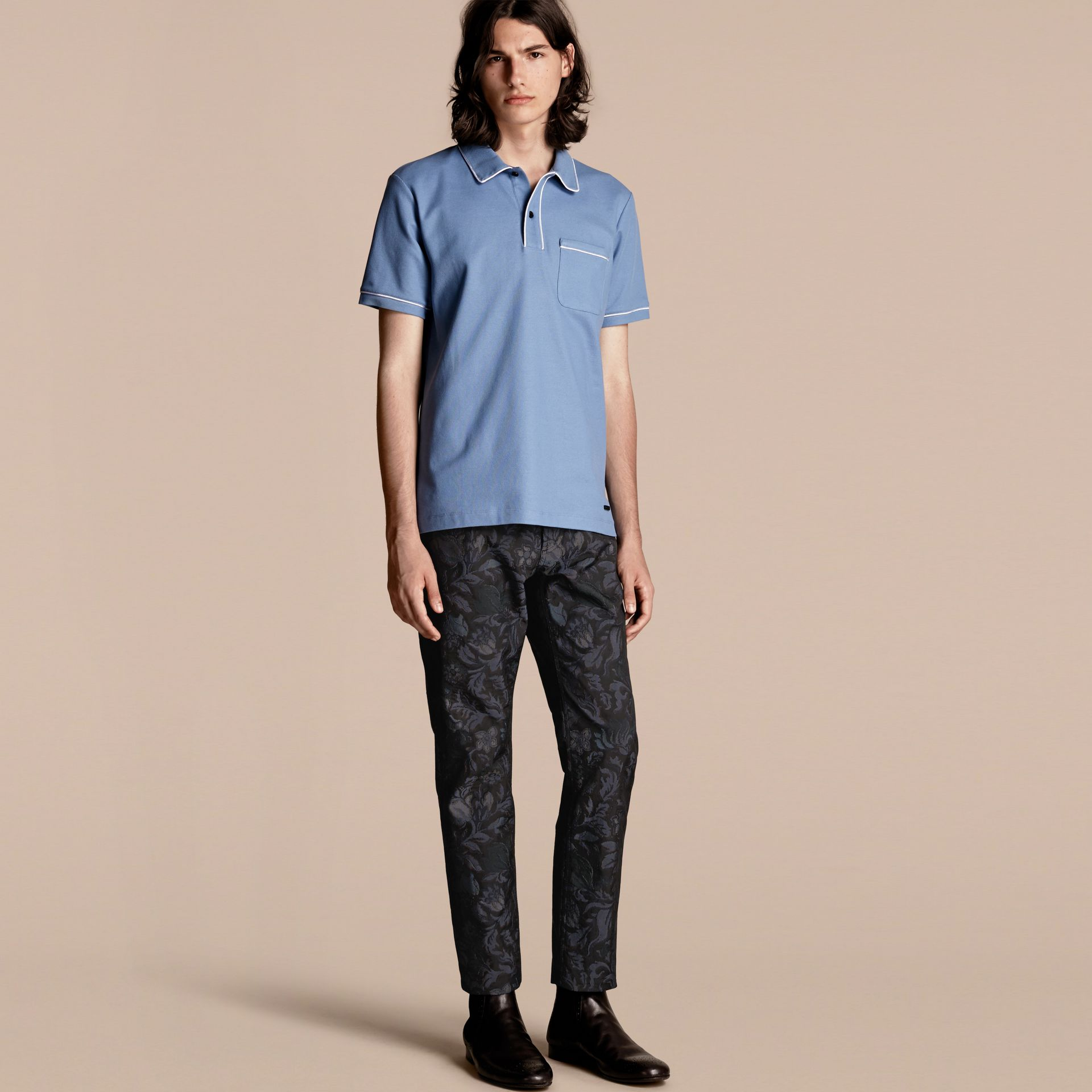 Piped Cotton Piqué Polo Shirt in Light Blue - gallery image 6