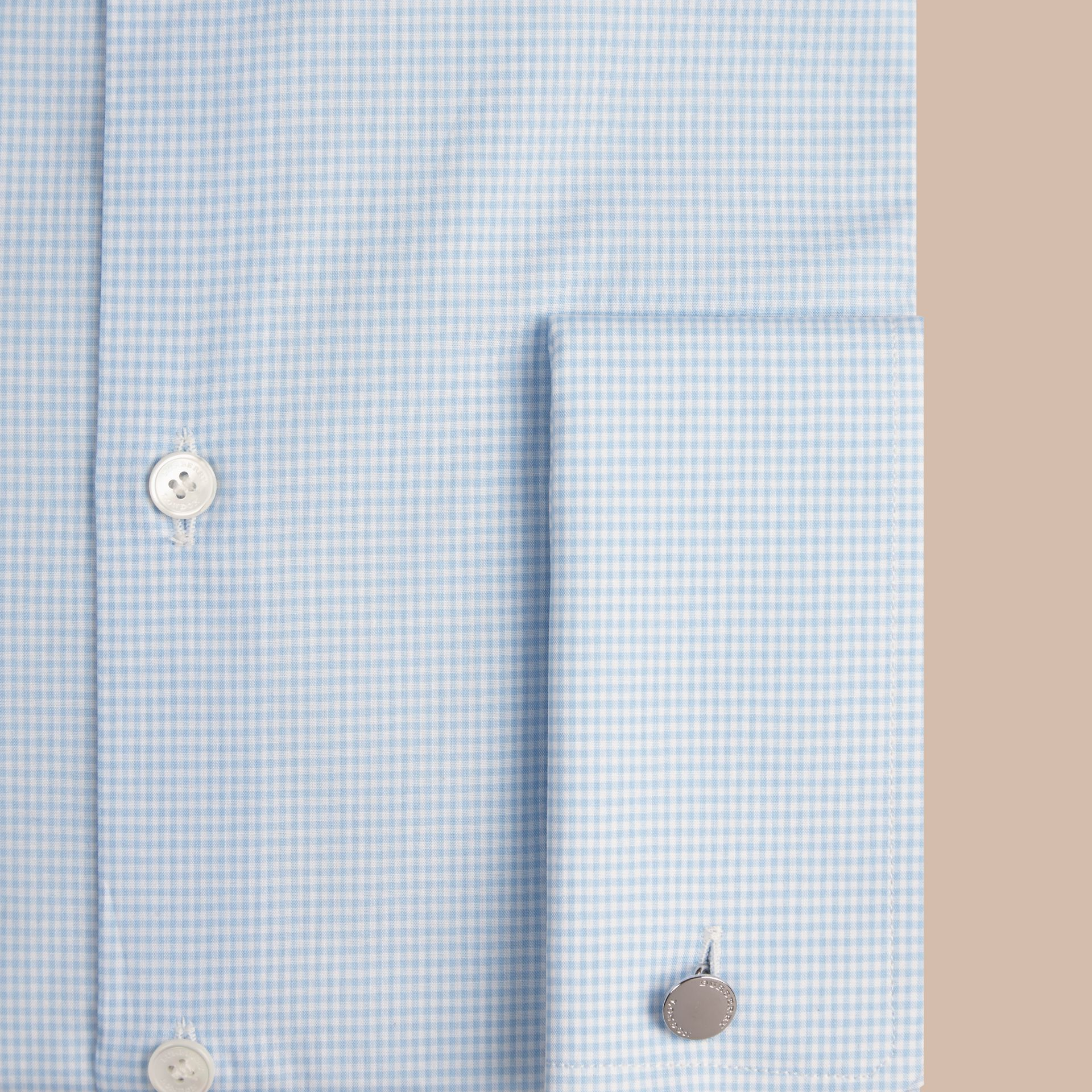 City blue Slim Fit Double-cuff Gingham Cotton Poplin Shirt - gallery image 2