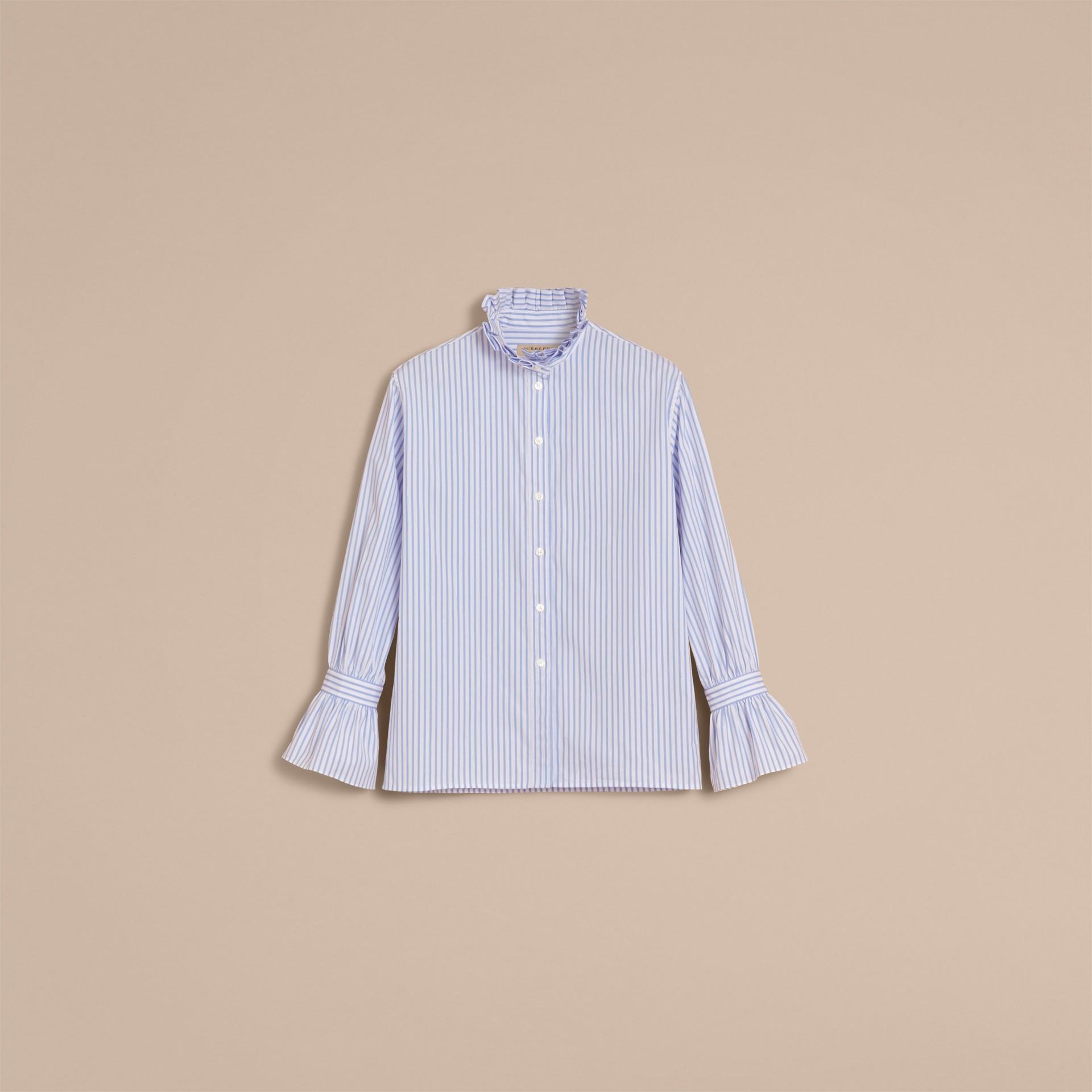 Ruffle Detail Striped Cotton Shirt - gallery image 4