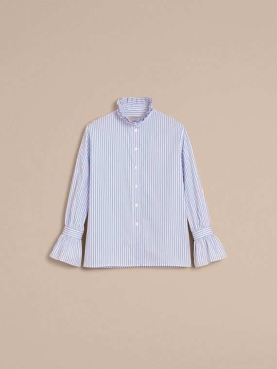 Ruffle Detail Striped Cotton Shirt - cell image 3