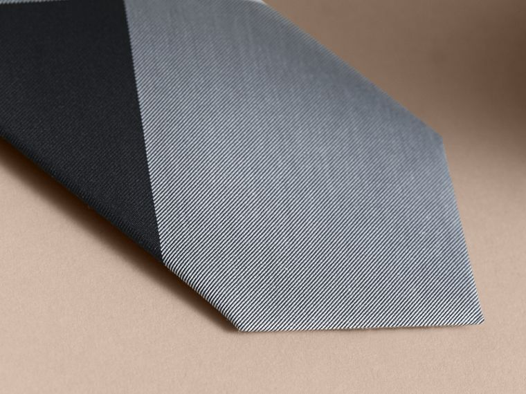 Slim Cut Check Silk Cotton Tie in Chalk Blue - Men | Burberry - cell image 1