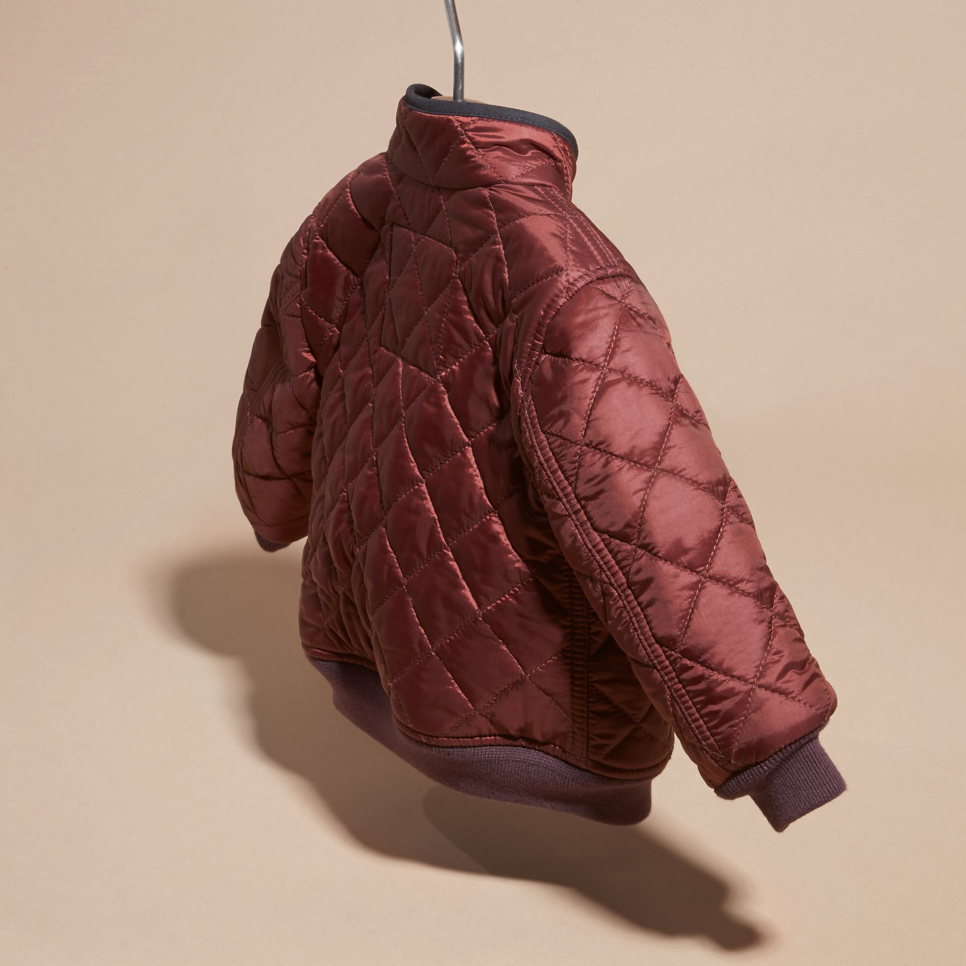 Deep burgundy Lightweight Quilted Bomber Jacket - gallery image 4