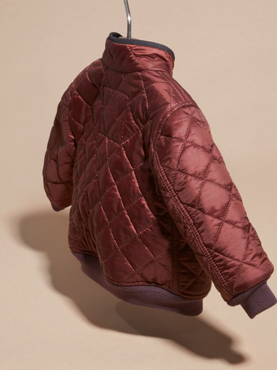 Deep burgundy Lightweight Quilted Bomber Jacket - cell image 3