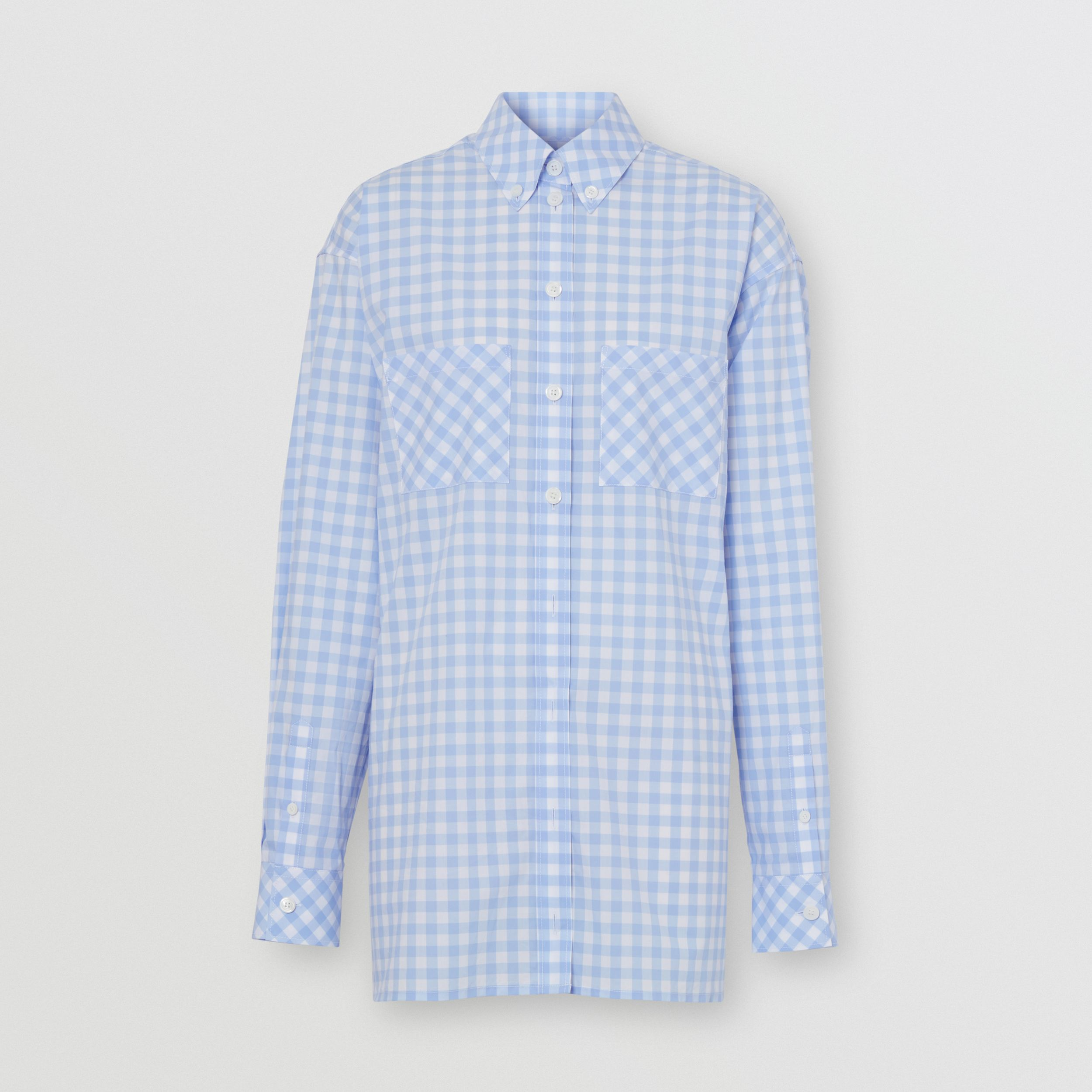 Gingham Cotton Poplin Shirt Dress in Pale Blue - Women | Burberry - 4