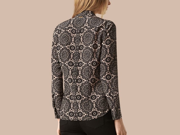 Nude/black Lace Print Silk Shirt - cell image 1