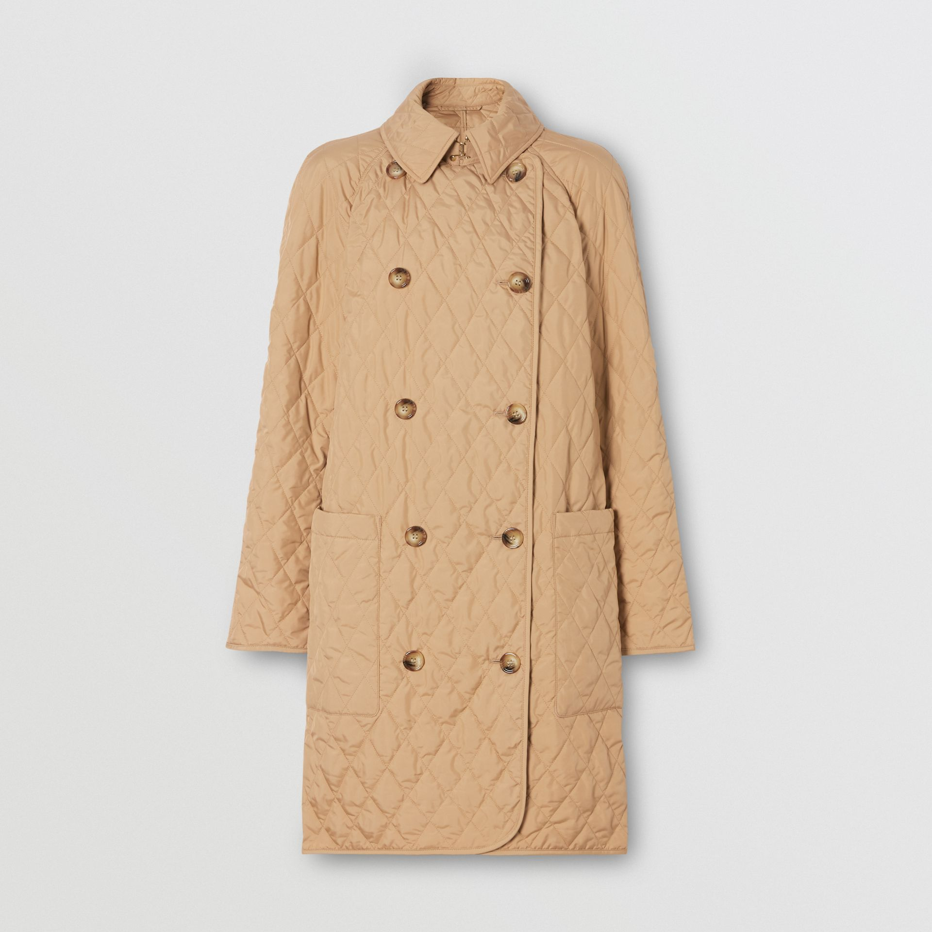 Diamond Quilted Double-breasted Coat in Biscuit - Women | Burberry United Kingdom - gallery image 3
