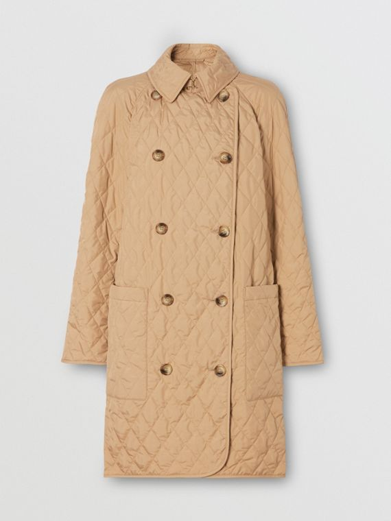 Diamond Quilted Double-breasted Coat in Biscuit