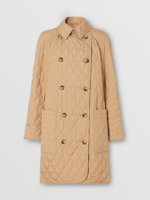 Diamond Quilted Double-breasted Coat in Biscuit - Women | Burberry - cell image 3