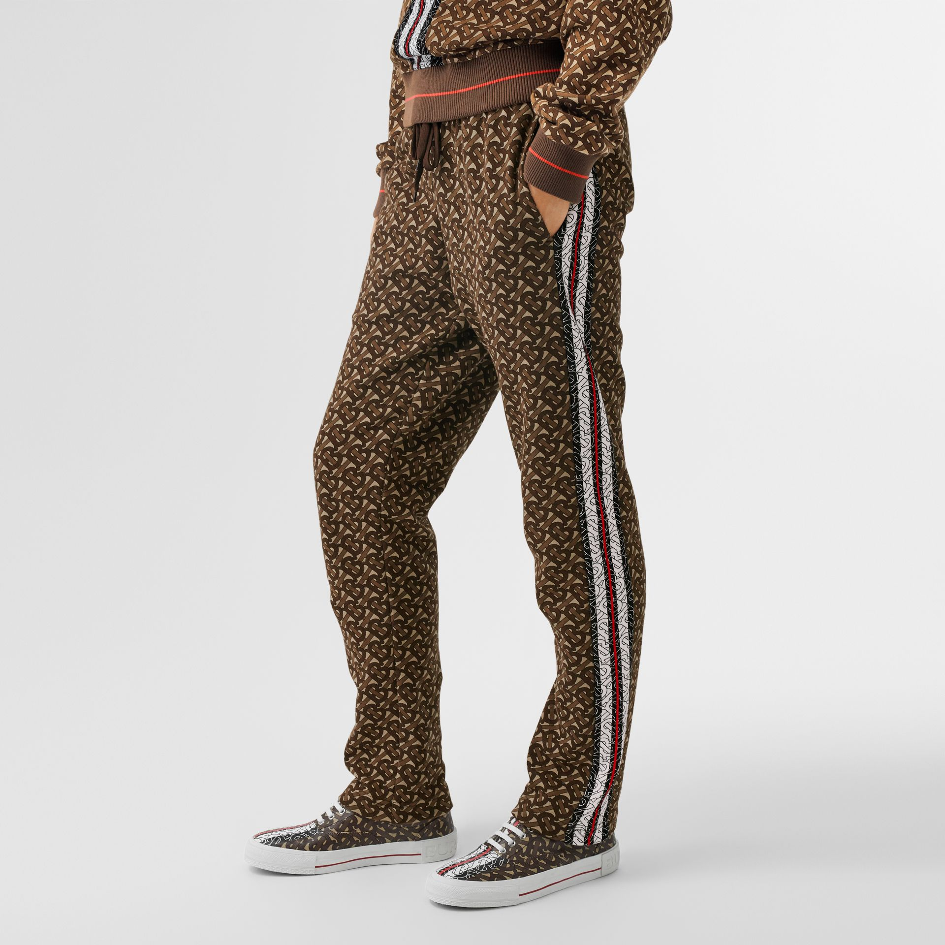 Monogram Stripe Print Cotton Trackpants in Bridle Brown - Women | Burberry - gallery image 0