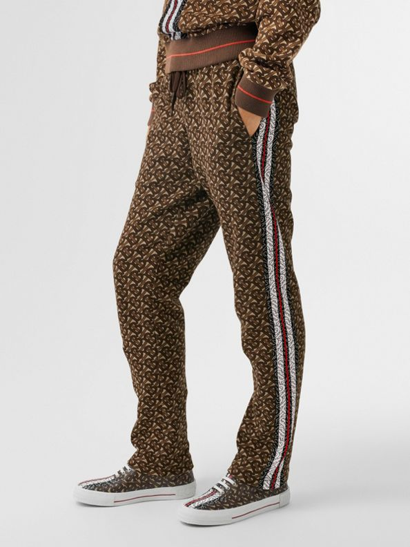 Monogram Stripe Print Cotton Jogging Pants in Bridle Brown