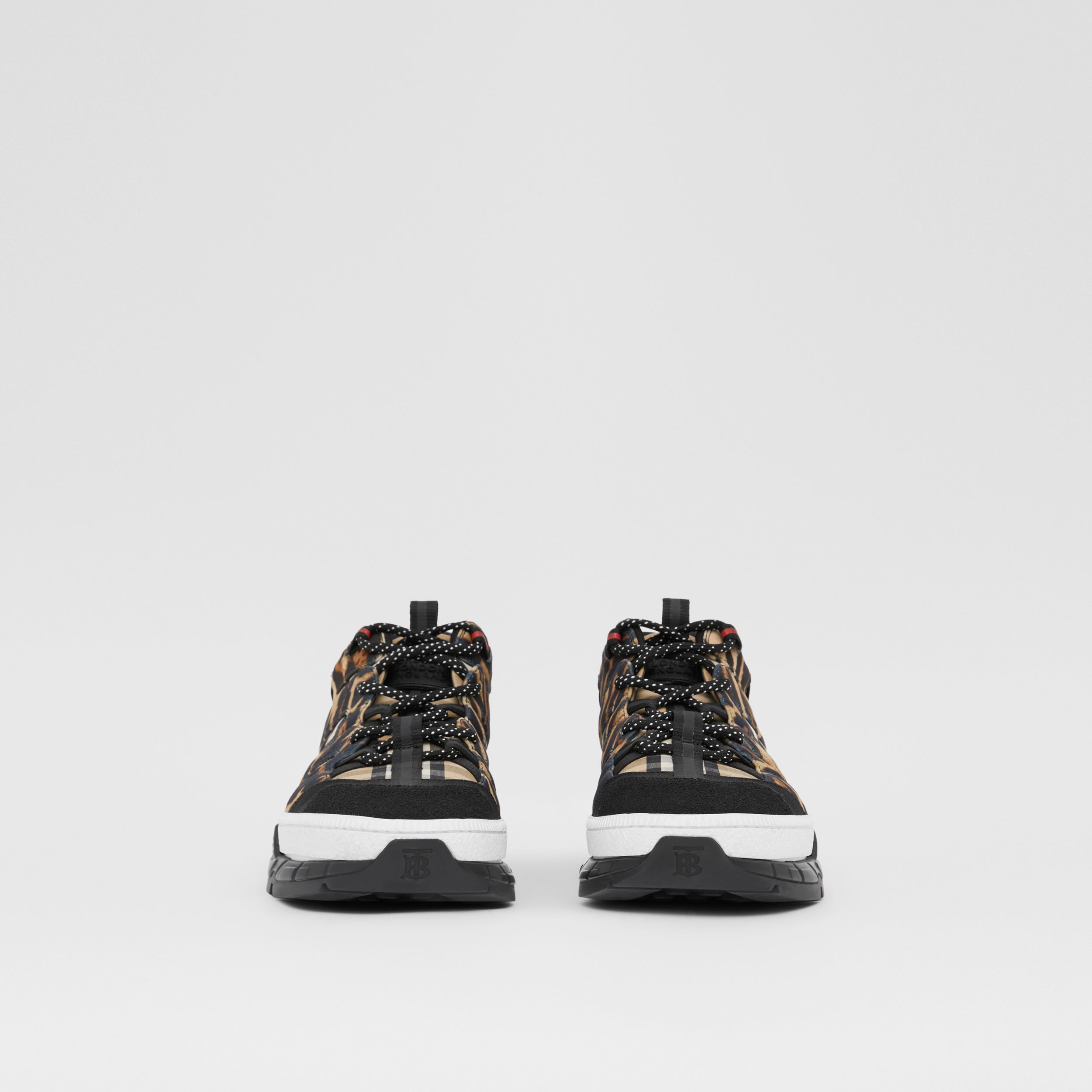 Leopard Print Neoprene and Cotton Union Sneakers in Archive Beige - Men | Burberry - 3