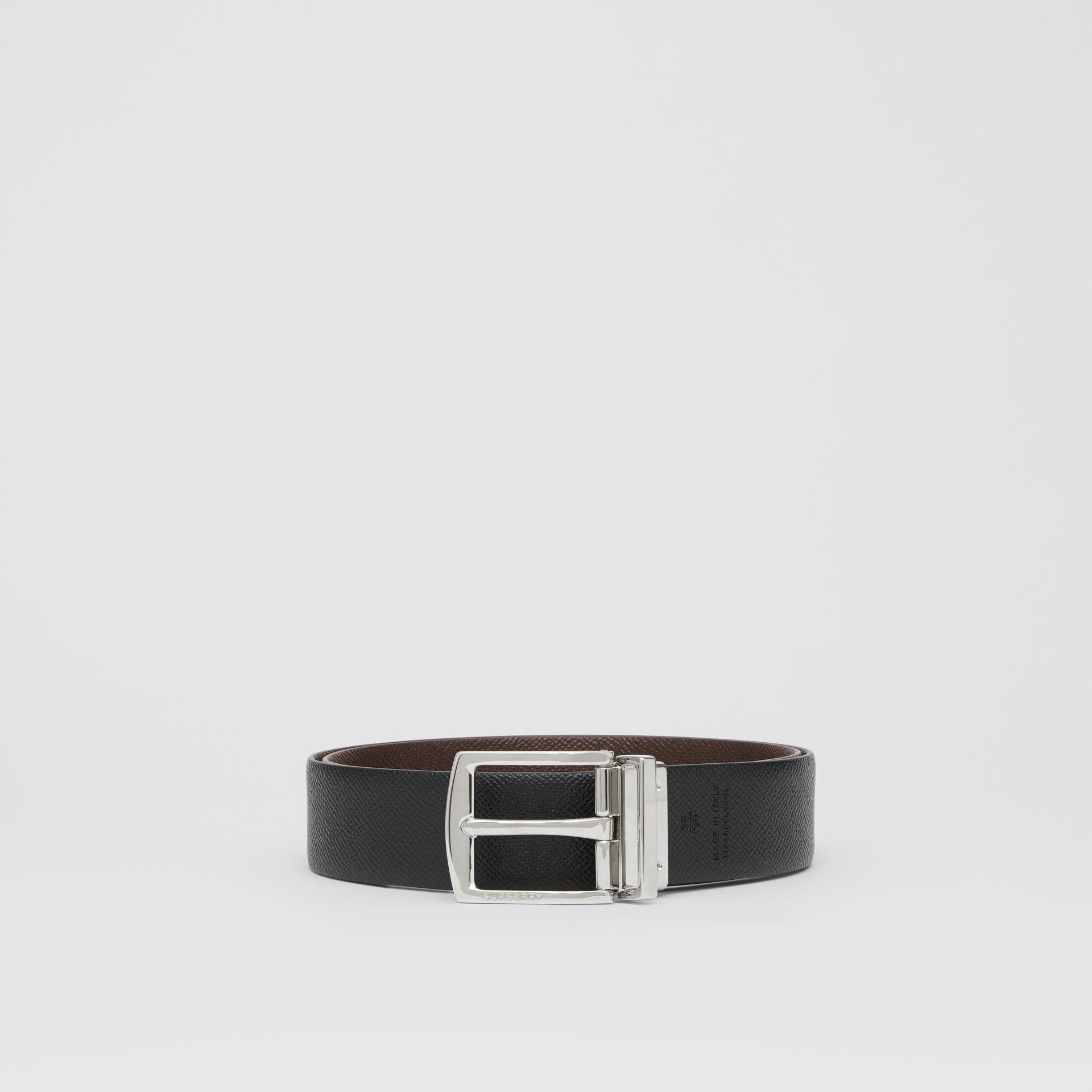 Reversible Grainy Leather Belt in Chocolate/black - Men | Burberry Singapore - gallery image 5