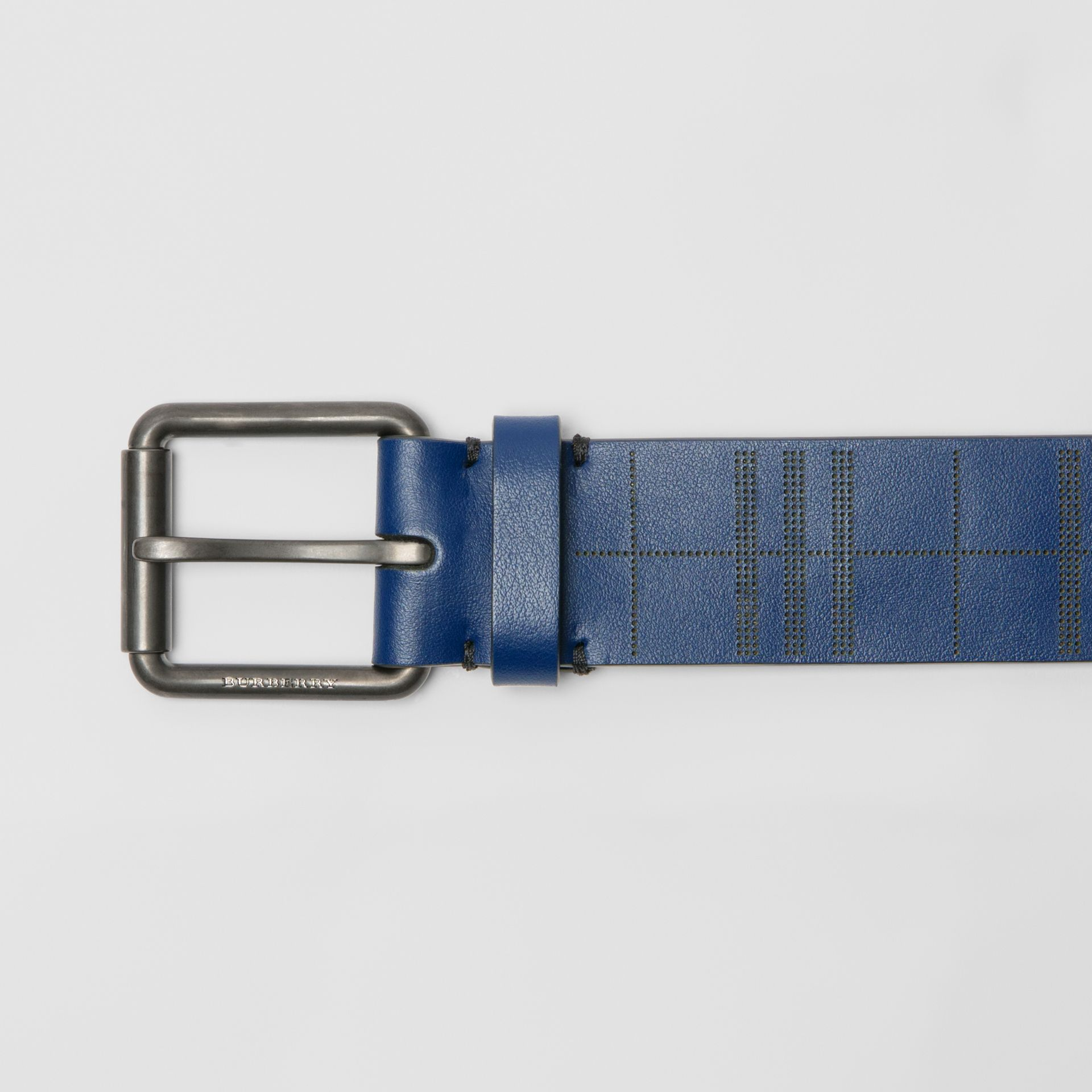 Perforated Check Leather Belt in Ink Blue - Men | Burberry United Kingdom - gallery image 1