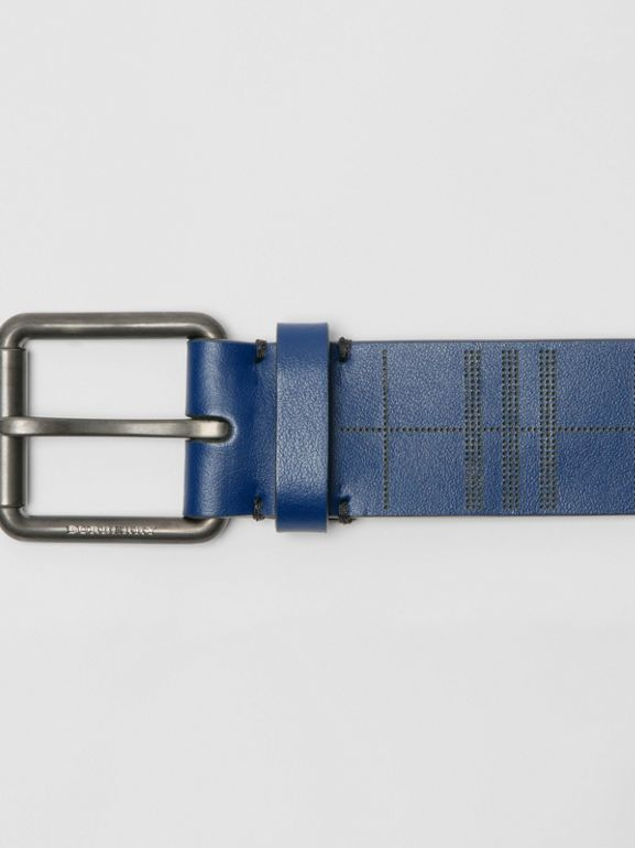 Perforated Check Leather Belt in Ink Blue - Men | Burberry United Kingdom - cell image 1