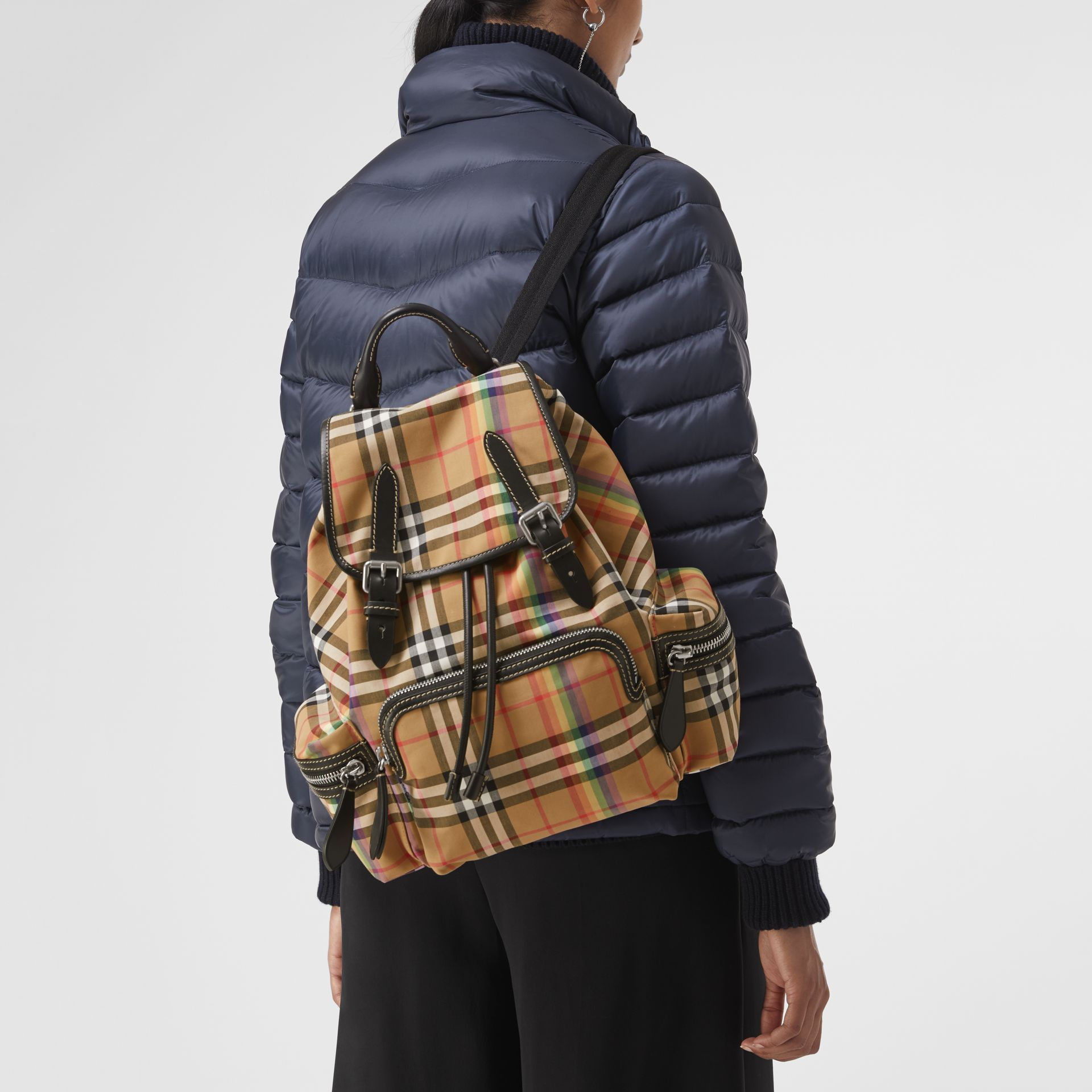 The Medium Rucksack in Rainbow Vintage Check in Antique Yellow - Women | Burberry United Kingdom - gallery image 3